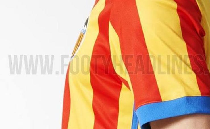 Fotos de la camiseta de la Senyera del Valencia para la temporada 2017-18