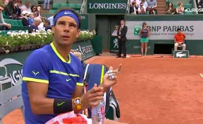 La bronca de Rafael Nadal con el juez de silla en Roland Garros 2017