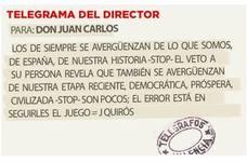 Telegrama para Don Juan Carlos