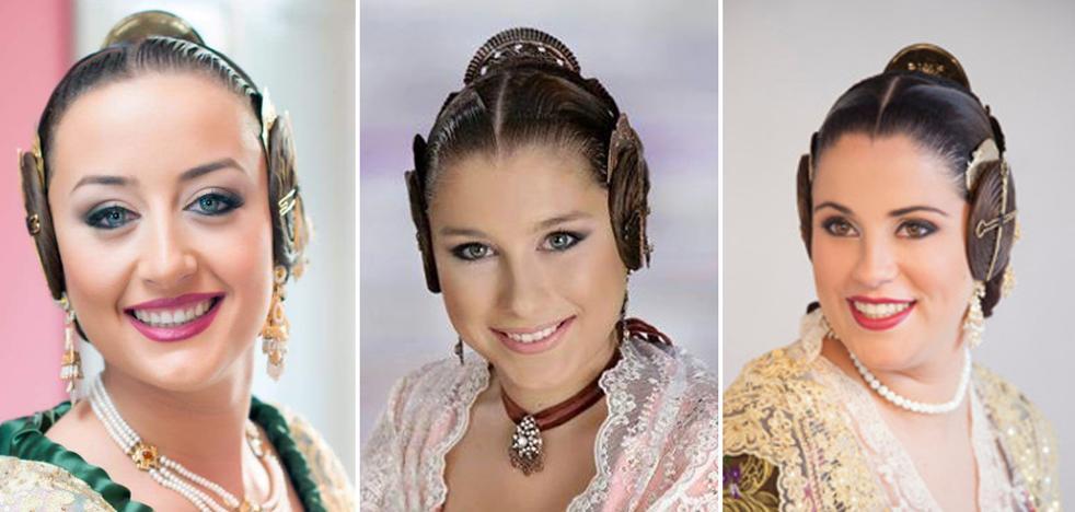Falleras preseleccionadas para la corte de honor de 2018 en La Seu-La Xerea-El Mercat, Jesús, Botànic-La Petxina, Rascanya y Saidia