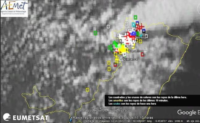 Lluvias fuertes y granizo en el interior de Castellón