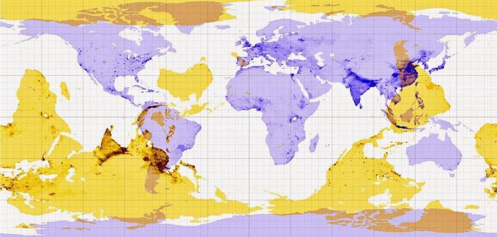 Un mapa muestra con detalle qué hay en las antípodas de cada punto de la Tierra