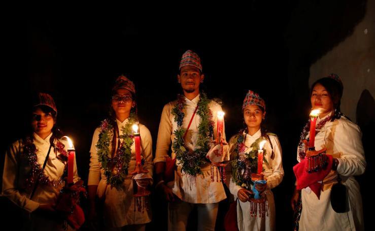 Fotos del Festival de las Luces en Lalitpur, Nepal