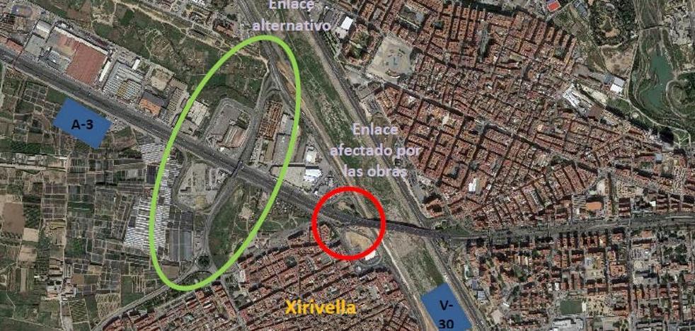 Cortarán el enlace entre V-30 y A-3 en Xirivella por la construcción de un paso inferior