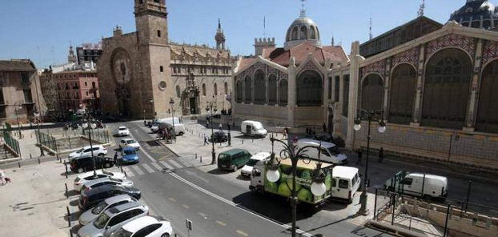 Rutas alternativas para acceder al aparcamiento del Mercado Central por las obras en San Vicente