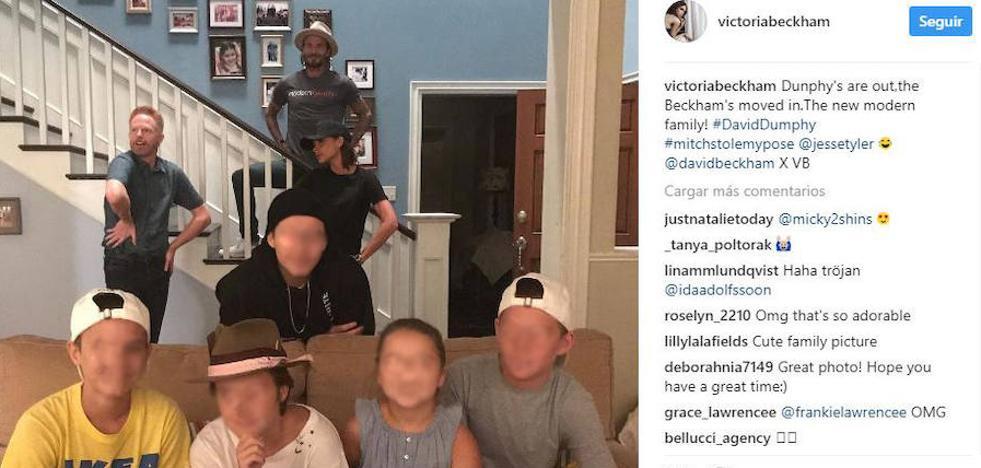 Los Beckham visitan el set de rodaje de Modern Family