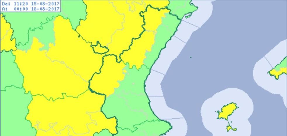 Aviso amarillo por tormentas en el interior norte de la Comunitat tras máximas de hasta 34º
