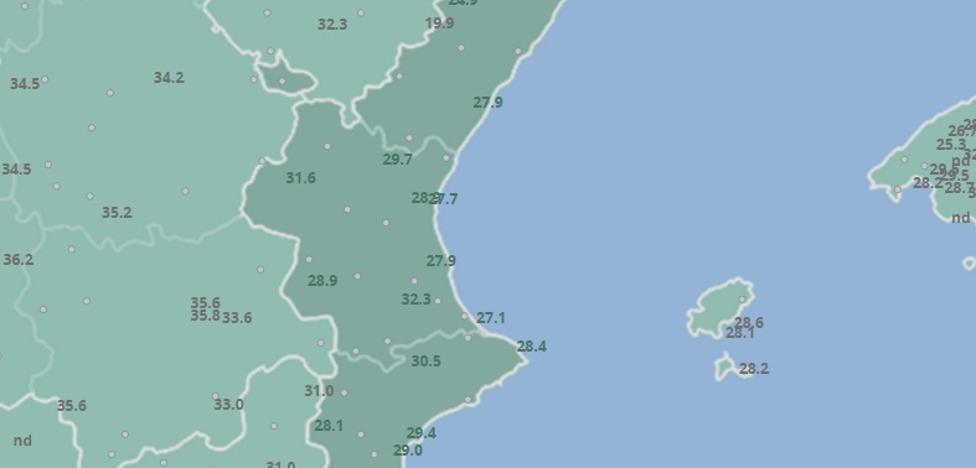 El tiempo en Valencia, Alicante y Castellón | Utiel alcanza los 36 grados en una jornada de ligero ascenso de las máximas