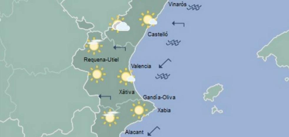 El tiempo en Valencia, Alicante y Castellón | Cielos poco nubosos y temperaturas máximas sin cambios