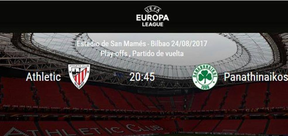 Directo   Athletic Club vs. Panathinaikos. Horario y televisión. Vuelta de la Previa de la Europa League. Ver online