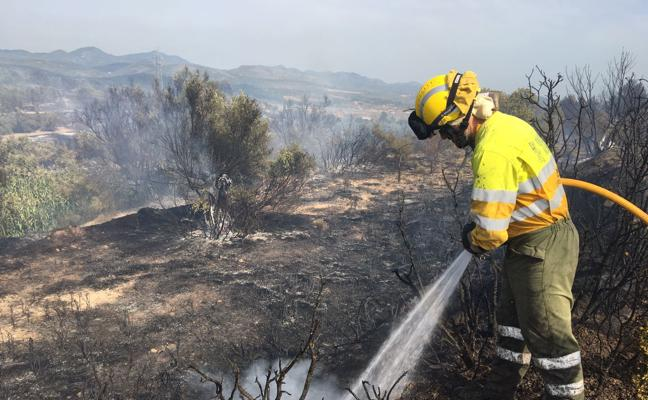 Declarados cinco incendios forestales en Jérica, Ayora y Torreblanca