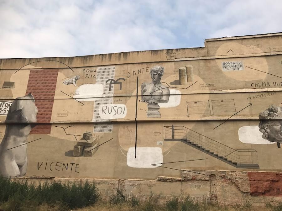 Fotos del muro de Escif para el IVAM