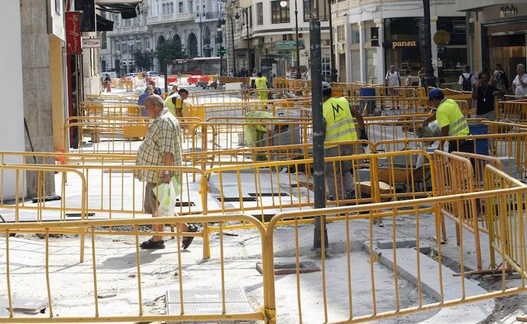 Fotos de obras en las calles de Valencia