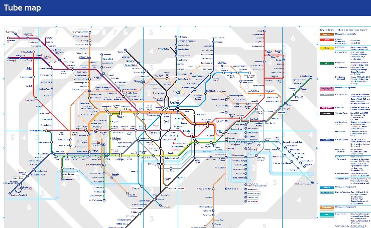 Plano del metro de Londres. Parada de Parsons Green en el mapa