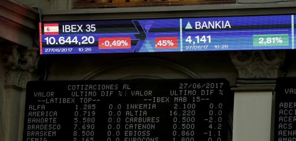 El Ibex continúa anclado en los 10.300 puntos y avanza un 0,33% a media sesión