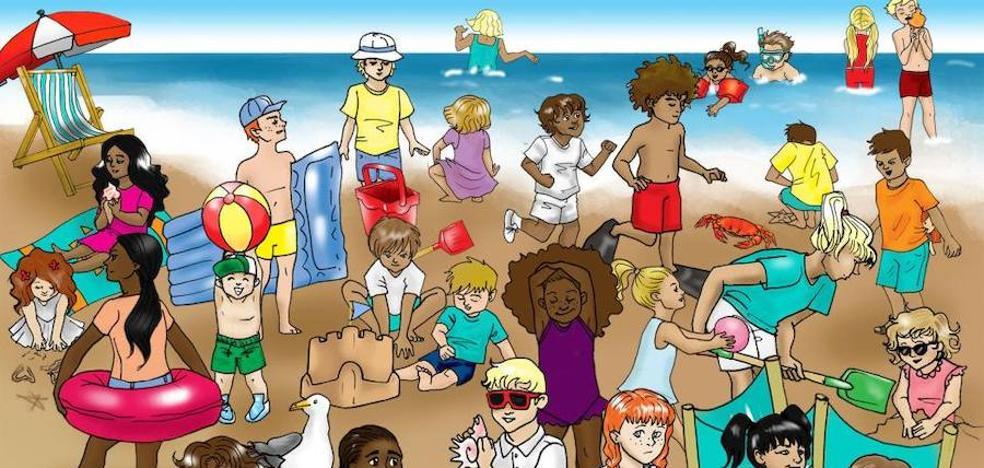 Una muñeca se esconde entre todos estos niños