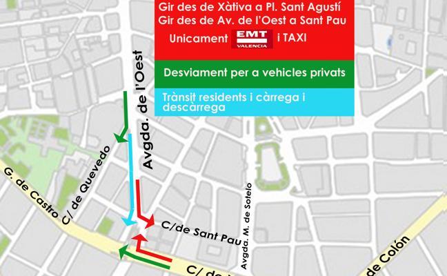 El Ayuntamiento de Valencia restringe el acceso de tráfico privado a la plaza de San Agustín