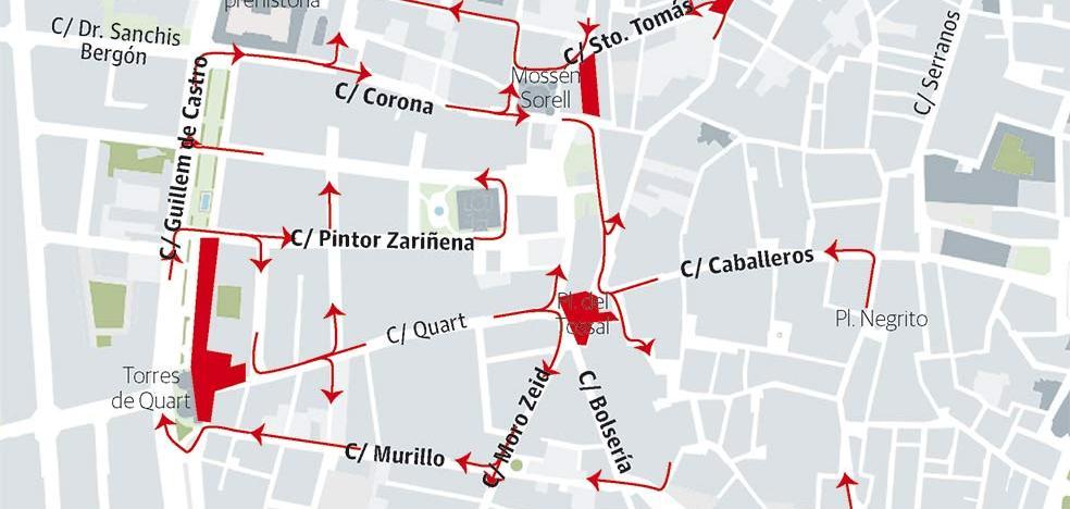 Estos son todos los cambios que afectarán desde hoy al tráfico en el centro de Valencia