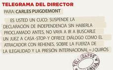 Telegrama para Carles Puigdemont