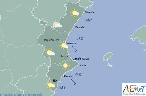 El tiempo en Valencia, Alicante y Castellón | Chubascos débiles por la tarde en el interior y descenso de las máximas