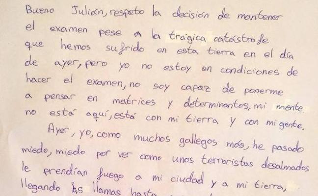 La emotiva carta de un joven gallego que no quería hacer un examen tras los incendios se vuelve viral