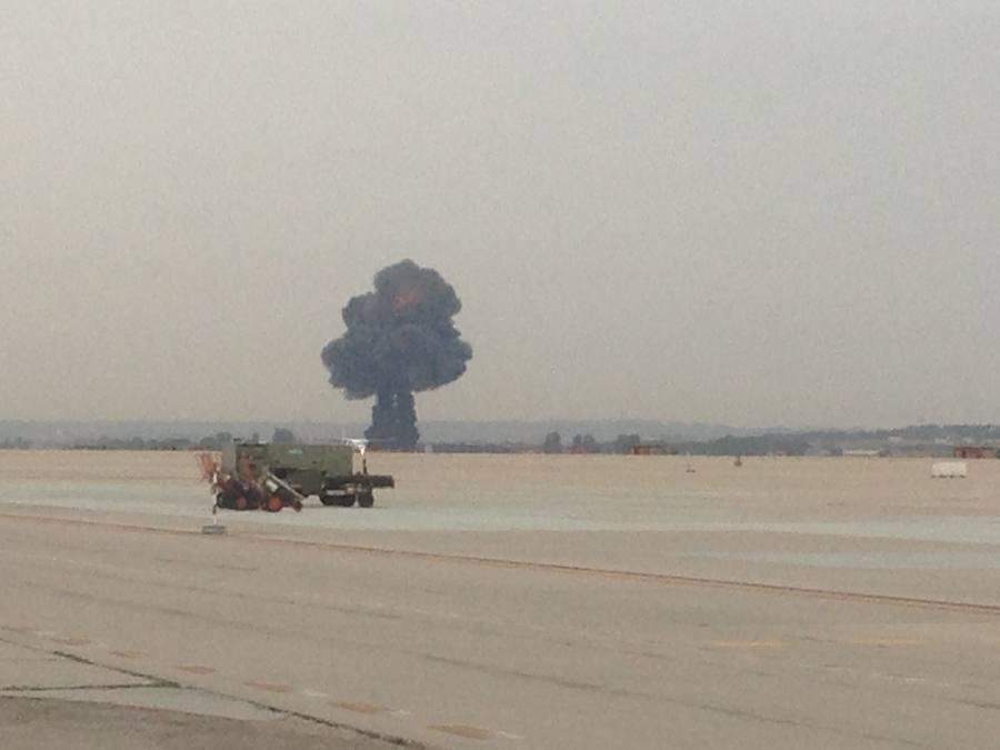 Fotos del accidente de un F-18 en Torrejón de Ardoz