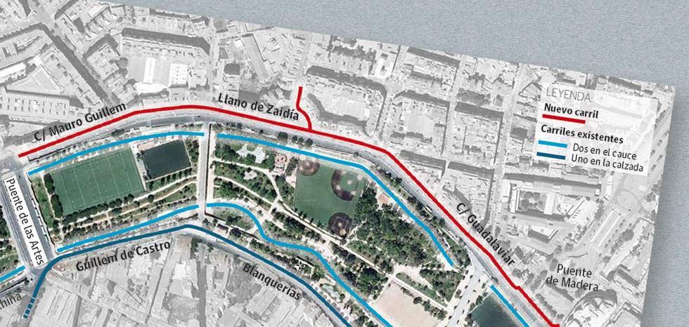 Cuatro carriles bici en paralelo en Valencia