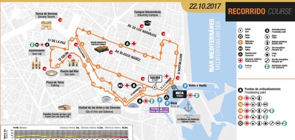 Calles cortadas por el Medio Maratón de Valencia 2017
