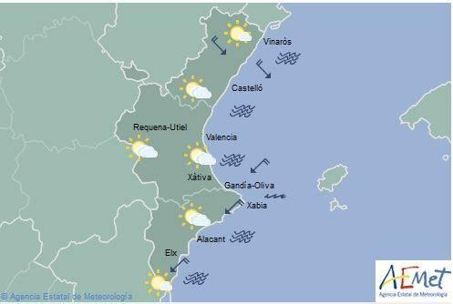 El tiempo en Valencia | Algunas nubes y temperaturas máximas en descenso para mañana