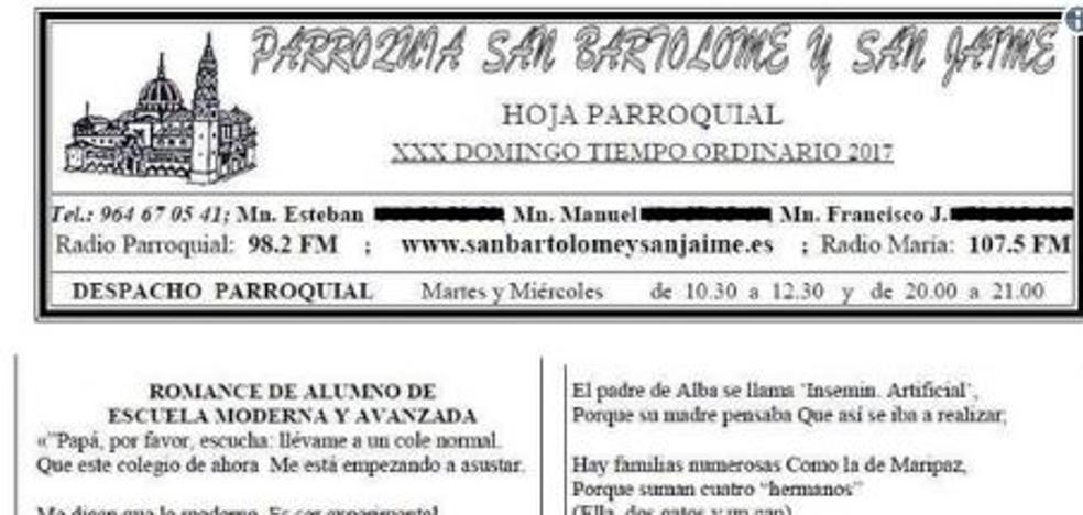Críticas en Nules por una hoja parroquial que califican de «homófoba» y «ataque a la escuela pública»