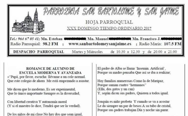 La parroquia de Nules retira el texto calificado de «homófobo» y dice que «nunca debía haberse publicado»