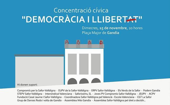 Compromís de Gandia se alinea con Esquerra Republicana y convoca una protesta para exigir la derogación del 155 y la libertad de los Jordis