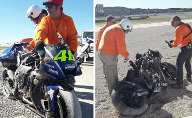 Rossi destroza su Yamaha en Cheste