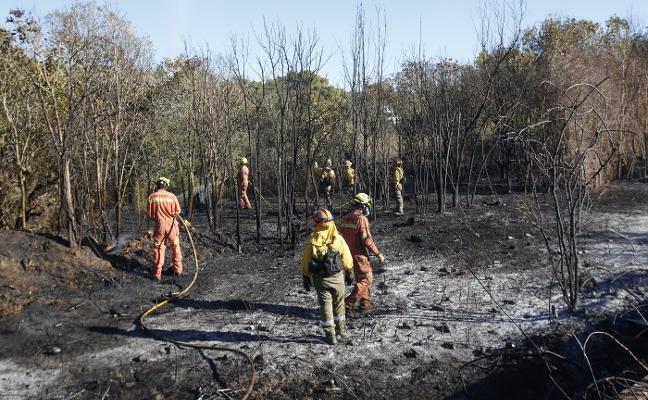 Un incendio obliga  a desalojar una veintena de chalés en Ribarroja