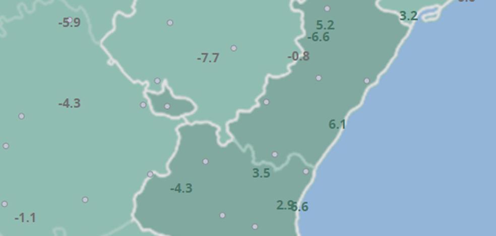 Las mínimas se desploman 10 grados y caen hasta los -8º en el interior de Valencia