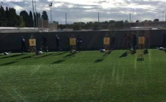 Guedes y Garay realizan parte del entrenamiento