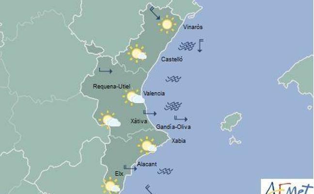 Caída de temperaturas por debajo de los 16º este martes en la Comunitat Valenciana