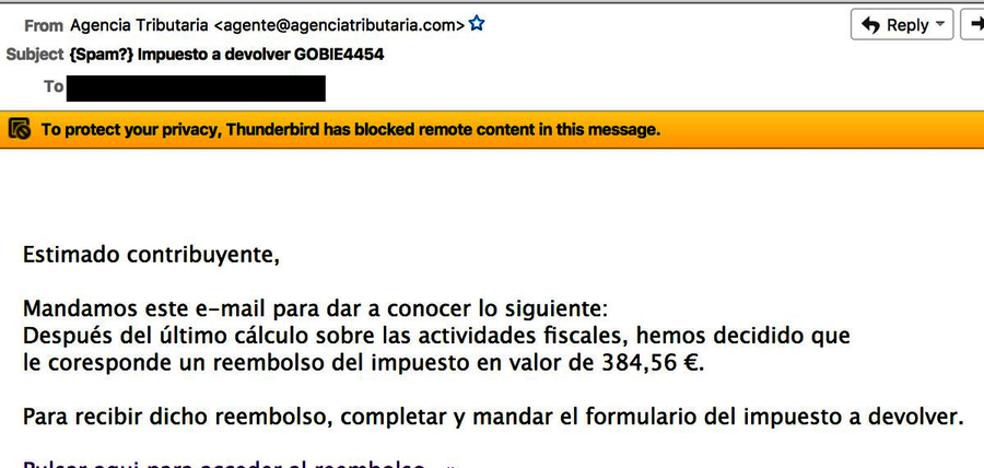 Un nuevo fraude online suplanta a Hacienda y promete un falso reembolso de 384,56 euros