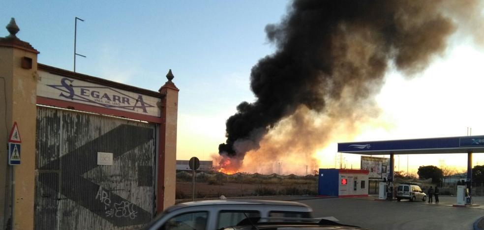 Un incendio quema 5.000 m2 de cañar en Vall d'Uixó y afecta a una empresa del polígono