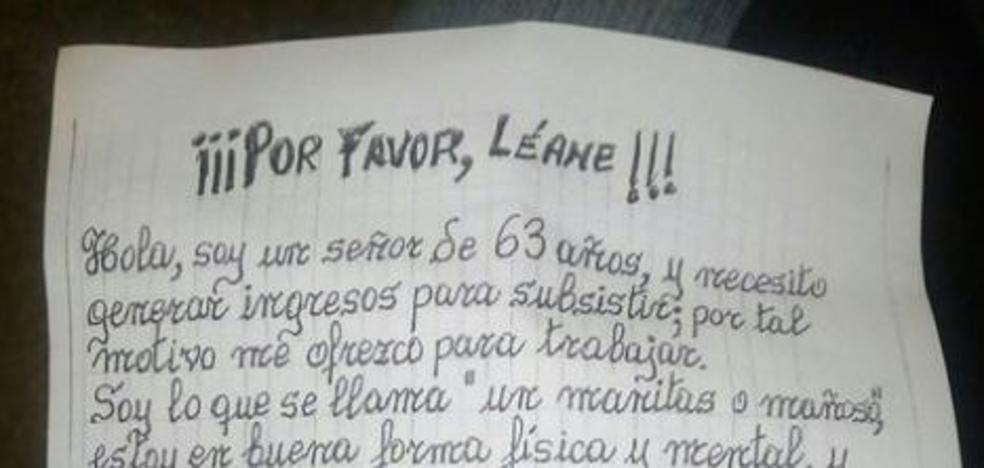 La desesperada carta de un valenciano de 63 años pidiendo trabajo