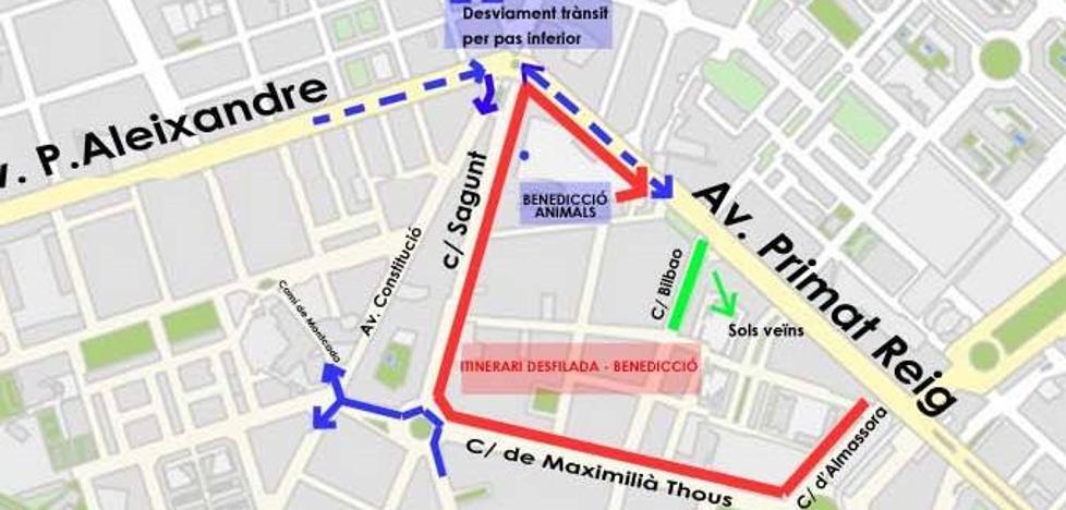 Calles cortadas el martes y el miércoles en Valencia por las celebraciones de San Antonio Abad