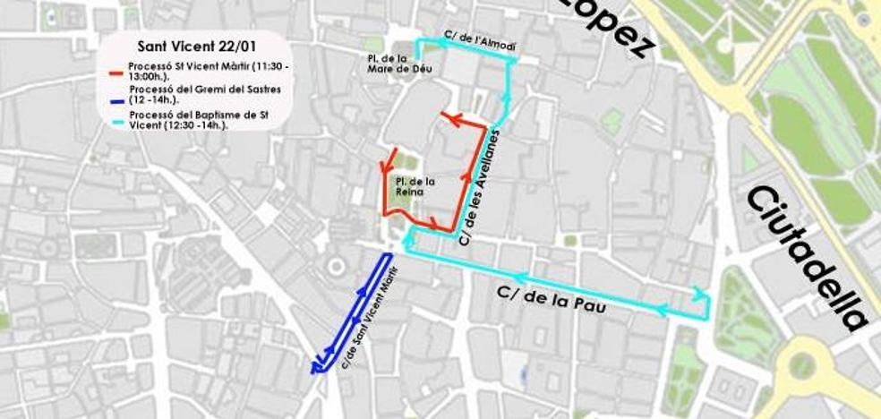 Calles cortadas el lunes por la celebración de San Vicente Mártir en Valencia