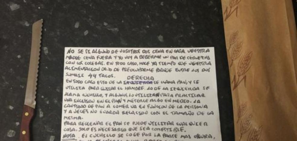 La nota de un padre a sus hijos veinteañeros con instrucciones para hacerse un bocadillo que arrasa en internet