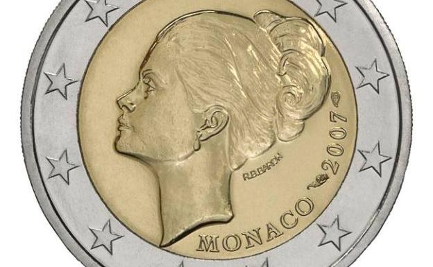 Moneda con la cara de Grace Kelly.