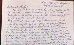 La carta de una mujer de 92 años que ha emocionado a Rafa Nadal