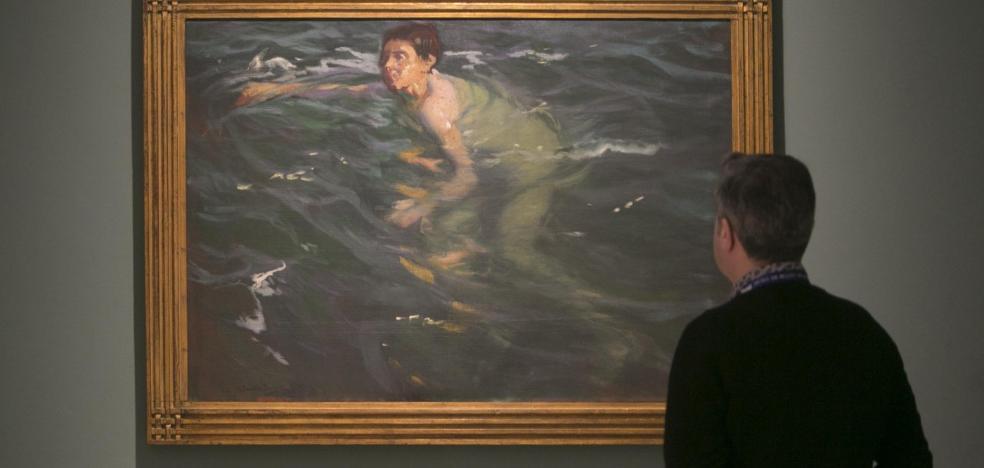 El Bellas Artes exhibe el lienzo 'Nadador', una obra nunca expuesta en Valencia