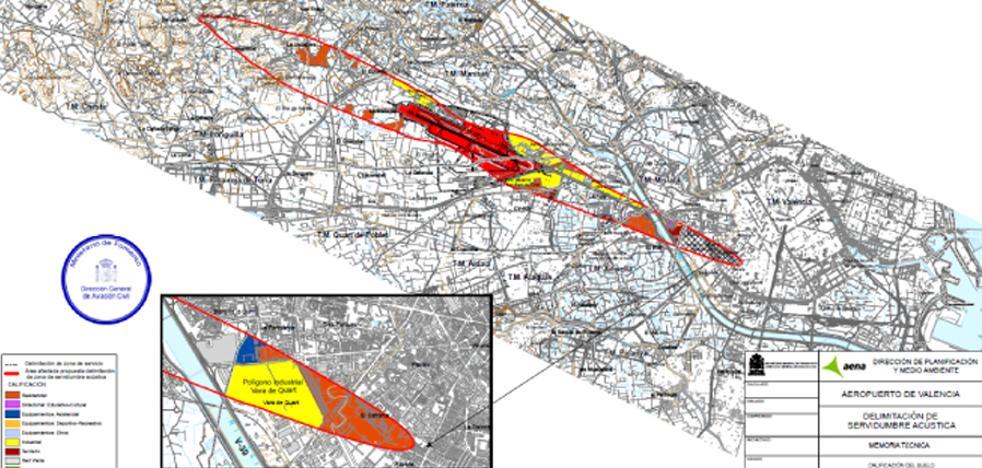 El mapa del ruido del aeropuerto de Valencia