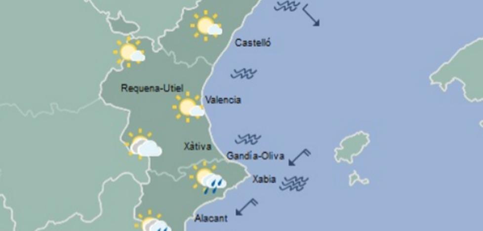Temperaturas en descenso en la Comunitat y lluvias ocasionales mañana en la mitad sur