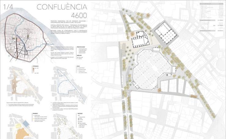 'Confluencia', proyecto de reurbanización de la plaza de Brujas, Mercado Central y Lonja de Valencia de las arquitectas Quintana y Peñín