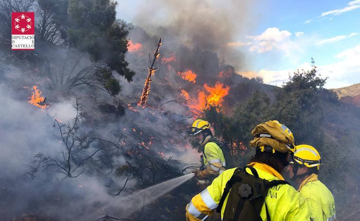 Incendio forestal en el Collado de Arenoso de Montán (Castellón)
